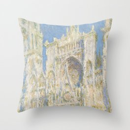 Claude Monet - Rouen Cathedral, West Façade, Sunlight Throw Pillow
