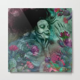"""Sirena between pastel cactus flowers"" Metal Print"