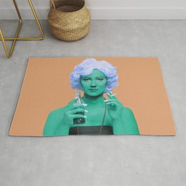 Pop art lady smoking and drinking green skin and orange background Rug