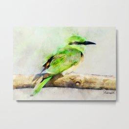 European Bee Eater Green Yellow Bird Wildlife Animal Watercolor Artsy Metal Print