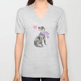 Watercolour Irish Wolfhound Unisex V-Neck
