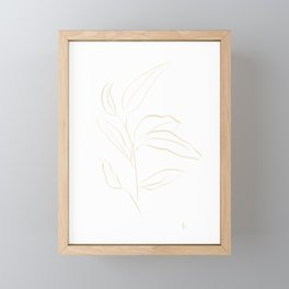 Leaf Stem: Botanical Print (Sand and White) Framed Mini Art Print