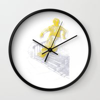 skate Wall Clocks featuring skate by jenapaul