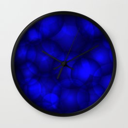 Glowing blue soap circles and volume sea bubbles of air and water. Wall Clock