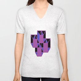 Purple Squares Unisex V-Neck