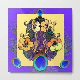 Decorative  Modern Floral Purple-cream Peacock art Metal Print