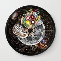 novelty Wall Clocks featuring Universe Striving for Novelty by Eugenia Loli