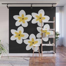 Yellow Plumeria Lei (Black) Wall Mural