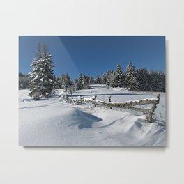 Snowy Winter Scene Metal Print