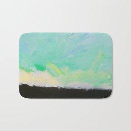 Sunset: Blues, yellows, greens, white and black acrylic. Bath Mat