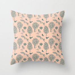 A Girl Reading in the Garden (Blush and Teal) Throw Pillow