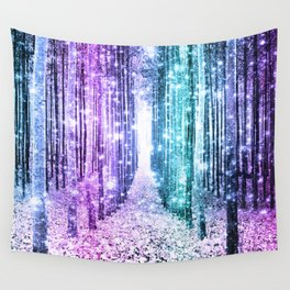 Magical Forest Lavender Aqua Teal Ombre Wall Tapestry