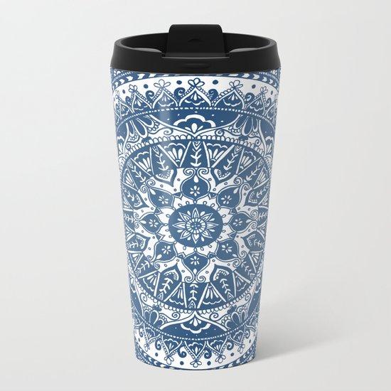 Blue Mandala Pattern Metal Travel Mug