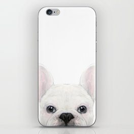 French bulldog white Dog illustration original painting print iPhone Skin