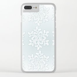 Crocheted Snowflake Ornaments on teal mist Clear iPhone Case