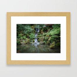 Portland Japanese Garden Waterfall Framed Art Print