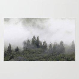 Pine trees in mist. Scotland. Rug