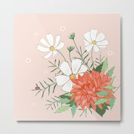 Cosmos and Dahlia on Pink Metal Print