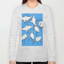 """Katsushika Hokusai """"Cranes from Quick Lessons in Simplified Drawing"""" (1823)(edited) Long Sleeve T-shirt"""