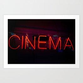 Neon Cinema Sign Art Print