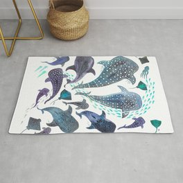 Whale Shark, Ray & Sea Creature Play Print Rug