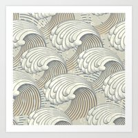 waves Art Prints featuring waves by Vickn