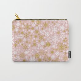 A Thousand Snowflakes in Rose Gold Carry-All Pouch