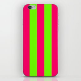 Bright Neon Green and Pink Vertical Cabana Tent Stripes iPhone Skin