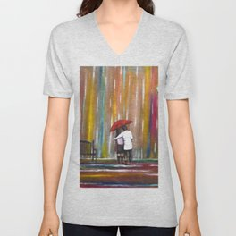 Love in the Rain romantic painting by Manjiri Kanvinde Unisex V-Neck
