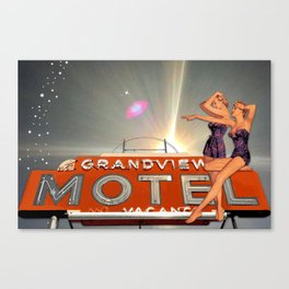 Midnight at the Grandview Motel | Vintage Inspired Collage Canvas Print