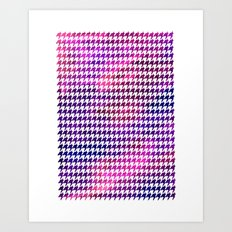Houndstooth bright pink watercolor Art Print