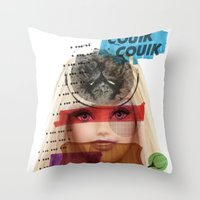 barbie Throw Pillows featuring Barbie by benjamin chaubard