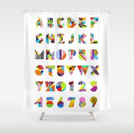 Collage Font 1 Shower Curtain