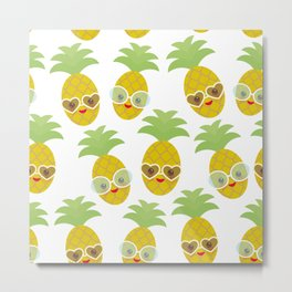 funny kawaii exotic fruit pineapple with sunglasses on white background Metal Print
