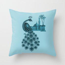 Blue peacock oriental dream Throw Pillow