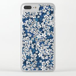 Boho Floral Hydrangea Blue and White Flowers Clear iPhone Case