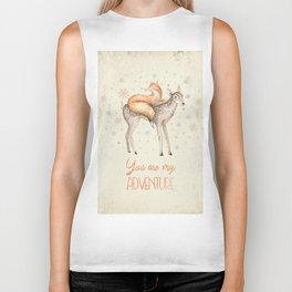 You are my adventure- fox and deer in winter- merry christmas Biker Tank
