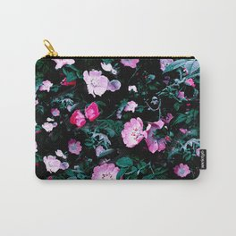Emerald Green And Rose Blush Floral Carry-All Pouch