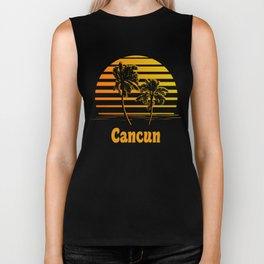 Cancun Mexico Sunset Palm Trees Biker Tank