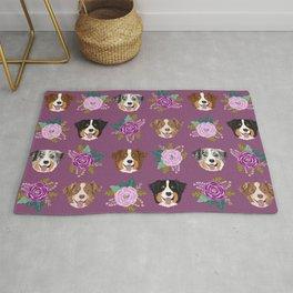 Australian Shepherd dog breed dog faces cute floral dog pattern Rug