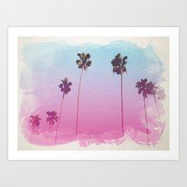 Palm Trees Watercolor Style Print, Digital, California Print, Beach Wall Decor Art Print