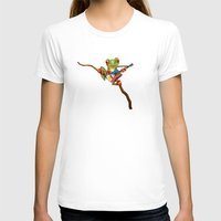 philippines T-shirts featuring Tree Frog Playing Acoustic Guitar with Flag of Philippines by Jeff Bartels