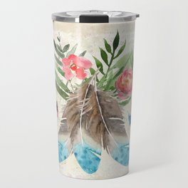 Feathers with Pink Flowers and Green Leaves Watercolor Design Travel Mug