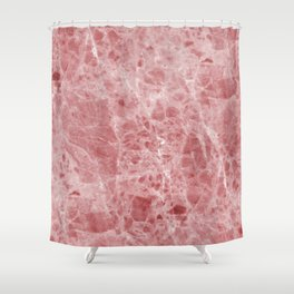 Juliette rosa deep pink marble Shower Curtain