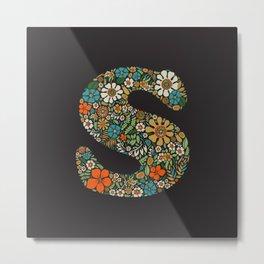 Hippie Floral Letter S Metal Print