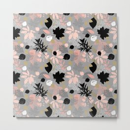 Abstract maple leaves autumn in pink and gray colors Metal Print