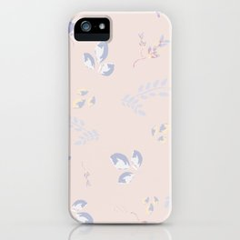 Spring watercolor leaves on peach background iPhone Case