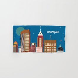 Indianapolis, Indiana - Skyline Illustration by Loose Petals Hand & Bath Towel