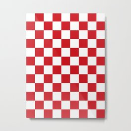 Checkered - White and Fire Engine Red Metal Print