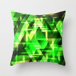 Spring gentle green horizontal strict stripes of sparkling grass triangles. Throw Pillow